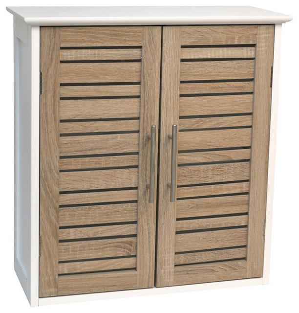 bathroom wall cabinet 2 doors mdf stockholm oak