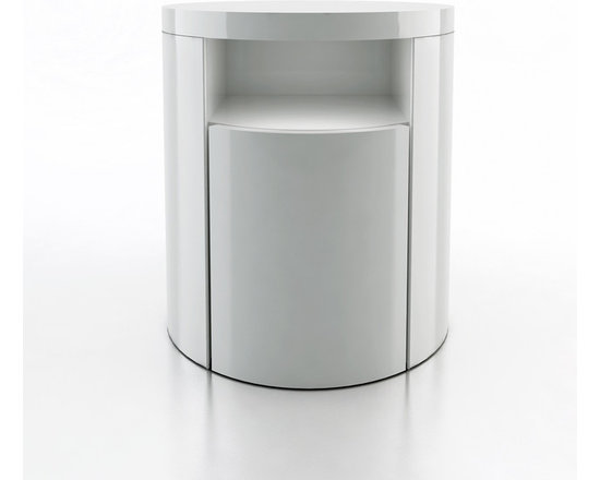 Mulberry Contemporary & Modern Nightstand by ModLoft - The Mulberry round nightstand adds dimension to any bedroom. Features a single drawer and upper shelf. European soft-closing glides enable effortless drawer movement. Interior of drawers elegantly lined in light beige linenboard. Available in wenge or walnut finishes. Also available in white lacquer finish. Imported.