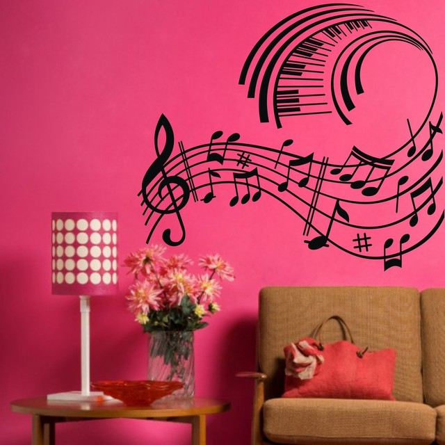 Musician wall decor : Big music notes and piano wall art decals