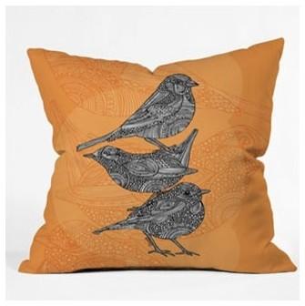 Valentina Ramos 3 Little Birds Throw Pillow modern-decorative-pillows