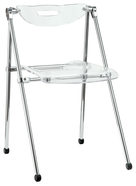 Telescope Folding Chair Clear Modern Dining Chairs by LexMod