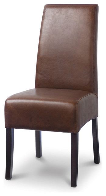 Hudson Leather Dining Chair with Brown Stitch, Tobacco traditional-dining-chairs