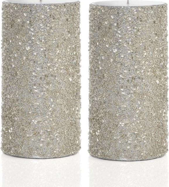 Glitter Pillar Candles, Silver contemporary-candles