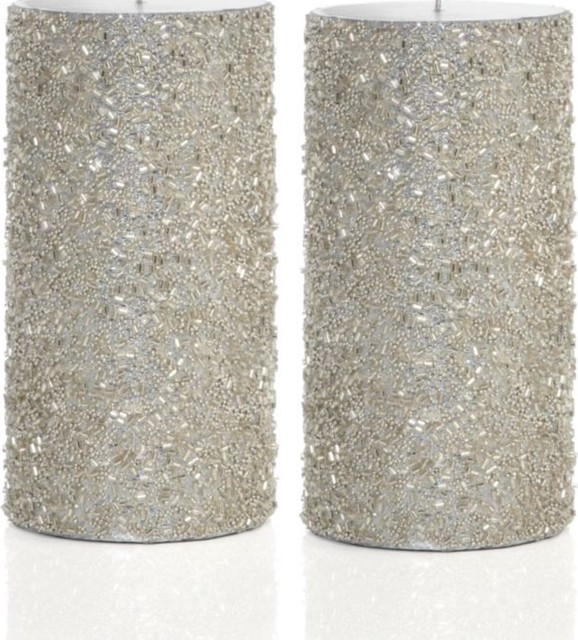Glitter Pillar Candles, Silver modern candles and candle holders