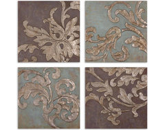 www.essentialsinside.com: damask relief blocks wall art contemporary accessories and decor