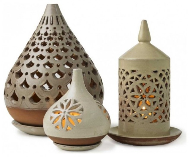 Egyptian Ceramic Lanterns - VivaTerra eclectic outdoor lighting