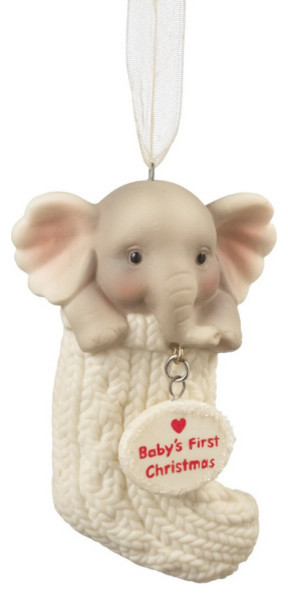 Baby's First Christmas Elephant Tree Ornament - Newborn Holiday Gift Decoration eclectic-christmas-ornaments