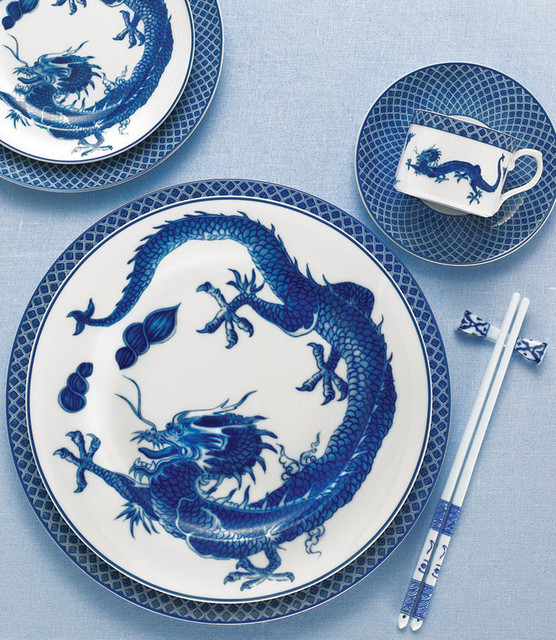 Mottahedeh - Blue Dragon China - Asian - Dinnerware - by The Pink Daisy