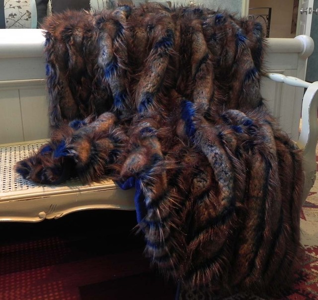 Peacock Woven Faux Fur Blue Amp Brown Throw 52 Quot X70