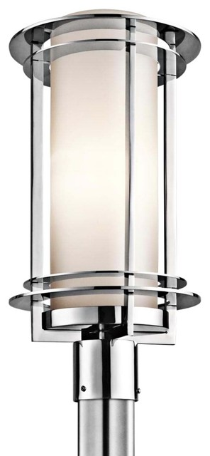 Contemporary kichler pacific edge 19 high steel outdoor for Contemporary outdoor post light fixtures