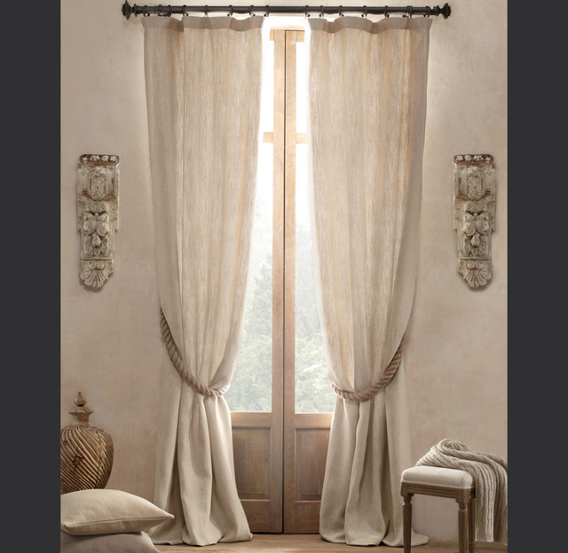 Textured Belgian Linen Drapery Traditional Curtains By Restoration Hardware