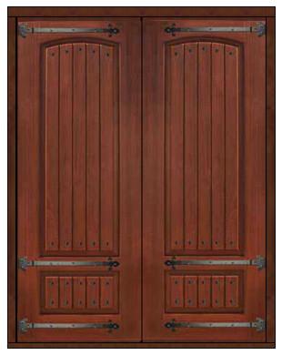 Prehung entry double door 96 fiberglass rustic 2 panel v - Rustic fiberglass exterior doors ...