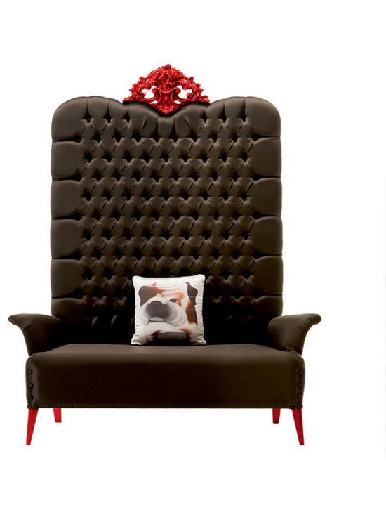 "Megatizzi Bench With Armrests - Make a mega-statement! ""Megatizzi"" Bench by Creazioni, made in Italy. This gorgeous multi-functional bench with padded armrests is a stunning piece for any room of the home. Why not add the ""Edward"" Dog cushion as shown?"