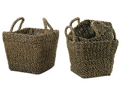 GO Home Ltd Country Chic Seagrass Baskets, Set of 3 contemporary-baskets