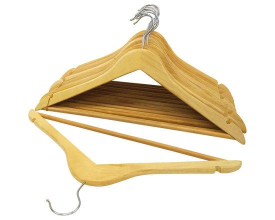 Florida Brands - Natural-Finish Wood Suit Hangers, Set of 16 - Suit Hangers: