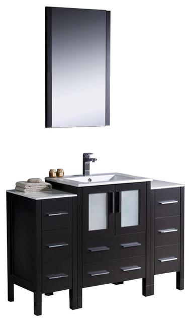 "Fresca Torino 48"" Modern Bathroom Vanity w/ Two Side Cabinets & Integrated Sink modern-bathroom-vanities-and-sink-consoles"