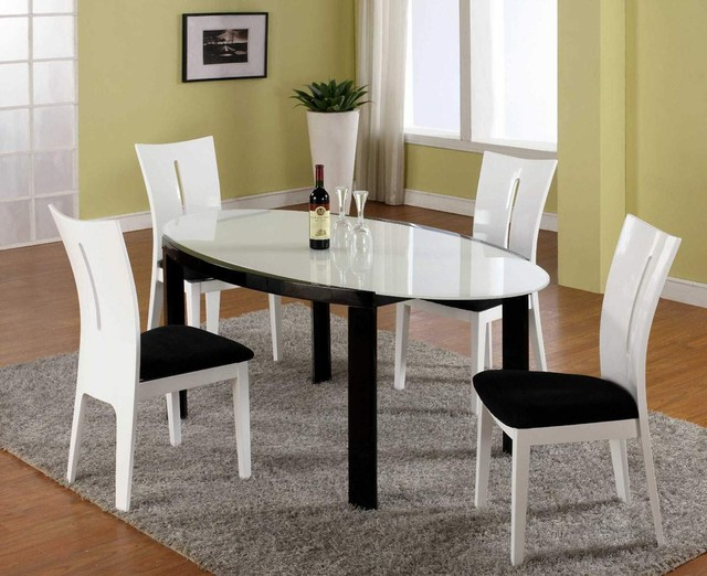 High End Oval Frosted Glass Top Microfiber Seats Modern Dining Set Contempo