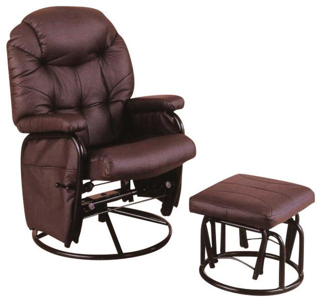 Monarch Specialties 2-Piece Swivel Rocker Recliner Chair Set in Wine w/ Ottoman contemporary-rocking-chairs