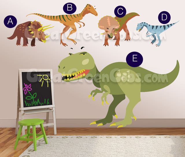 Really big dinosaur wall decals wall decor art for boys room traditional kids wall decor - Boys room dinosaur decor ideas ...