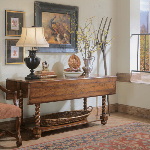 Decorator jacobean twist convertible drop leaf consol for Convertible console table