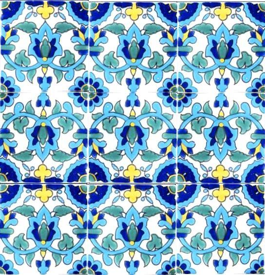Hand painted 4 x 4 decorative ceramic tiles midcentury - Hand painted ceramic tile ...