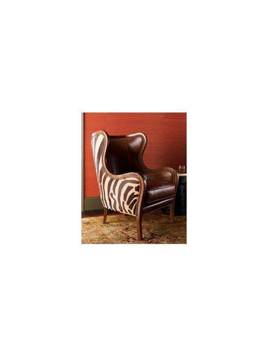 """Chocolate Zebra"" Wing Chair - Massoud Furniture combines two trends beautifully, and the curves of this wing chair simply add to the allure. Crafted by hand with a beech frame that's covered on the inside by top-grain leather and on the outside by hairhide stenciled with zebra stripes."