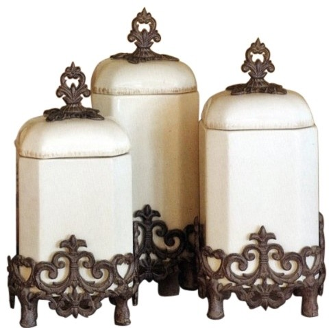 The GG Collection Provencal Cream Canisters, Set of 3 traditional ...