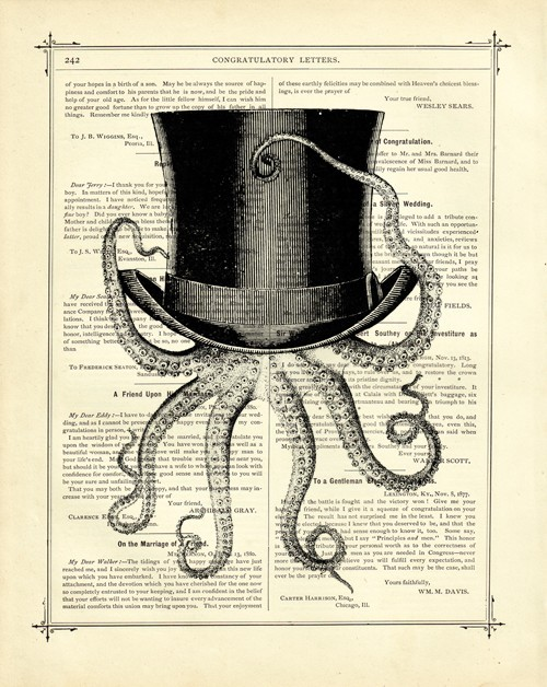 Octopus wearing a Top Hat Vintage Victorian by curiousprintery artwork