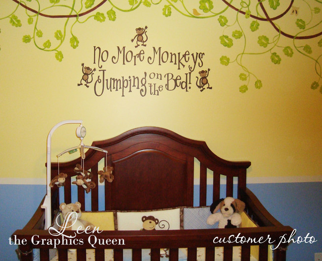 No More Monkeys Jumping on the Bed Wall Decal decals