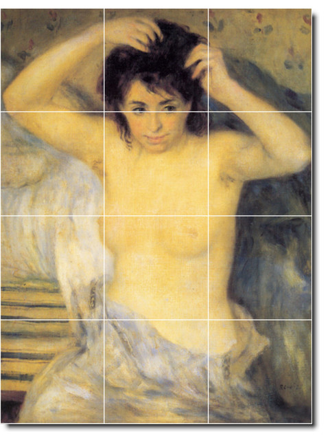 Torso before the bath the toilette tile mural by auguste for 32x24 basement window
