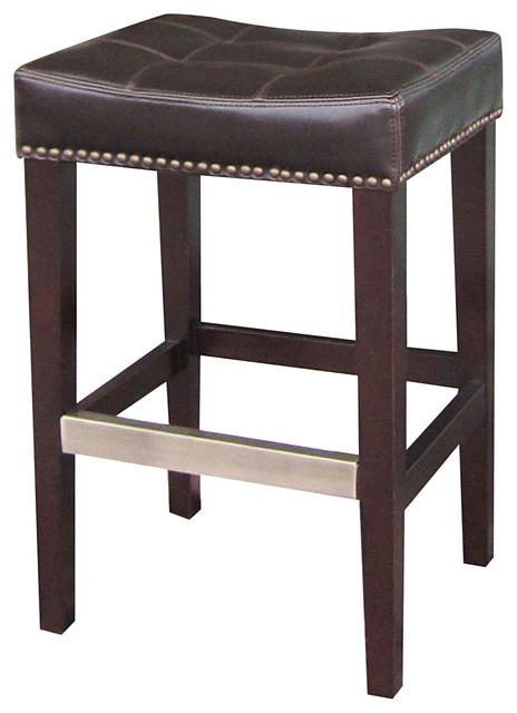 Milton Espresso Brown Leather Tufted Counter Stool