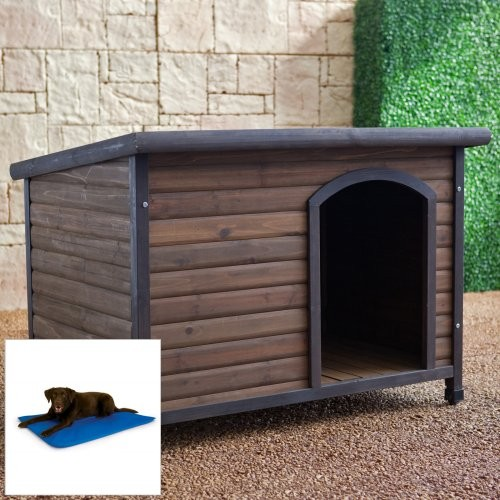 Other Brands Habitats Log Cabin Dog House with Cooling Bed traditional-pet-supplies