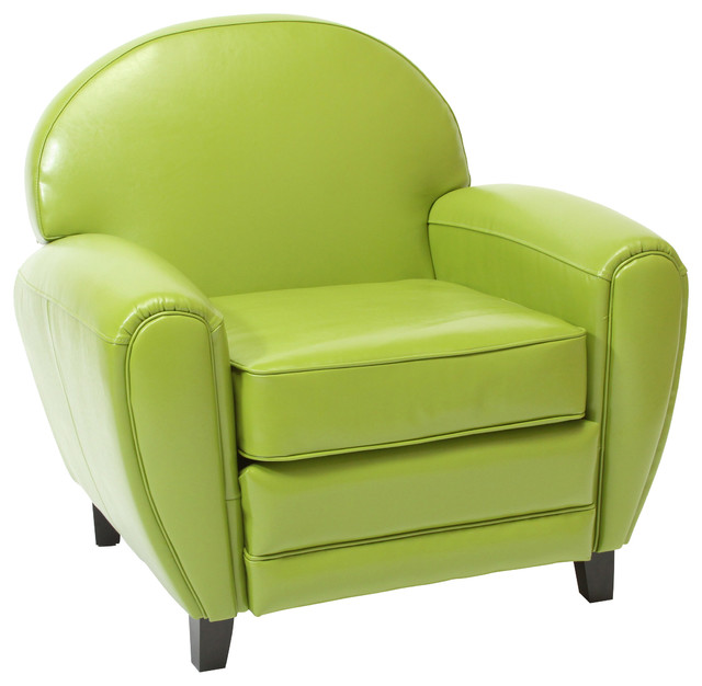 Hayley Apple Green Leather Club Chair Midcentury Armchairs And Accent Cha
