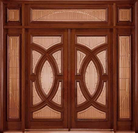 Jeld-Wen 252 Genuine Mahogany Doors and Sidelights 603 Transom transitional-front-doors