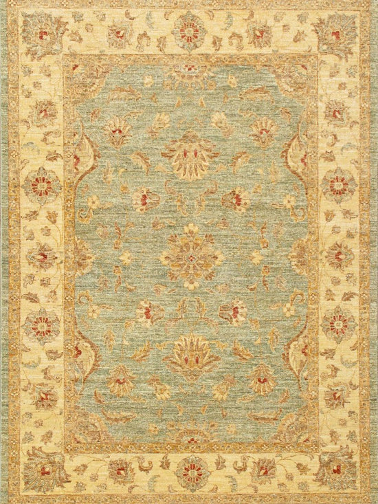 Rugsville Peshawar 5th Avenue Lt.Blue Beige Wool Rug - 5th Avenue Peshawar Collection with vegetable dyes and 100% hand-spun wool, the Peshawar Collection offers a series of antique traditional designs highlighted in soft and vibrant overtones.