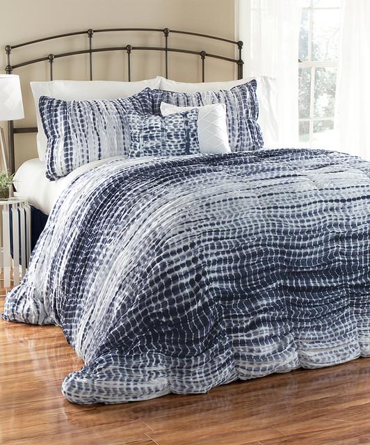 Navy Amp White Tie Dye Comforter Set Modern Comforters