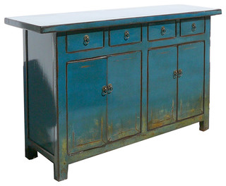 Chinese Antique Blue Lacquer Buffet Console Table TV Stand Cabinet - Asian - Entertainment ...