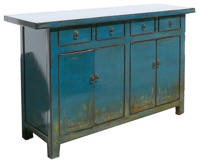 Chinese antique blue lacquer buffet console table tv stand for Asian console cabinet