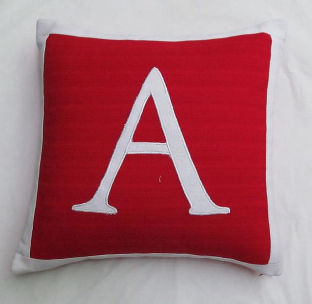 Custom made monogram pillows modern
