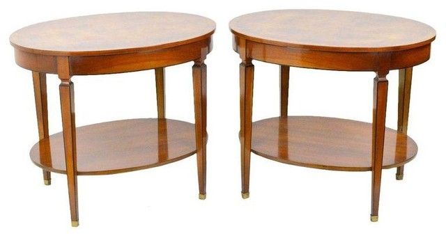 Used Biedermeyer Style Oval Side Tables - A Pair midcentury-side-tables-and-end-tables