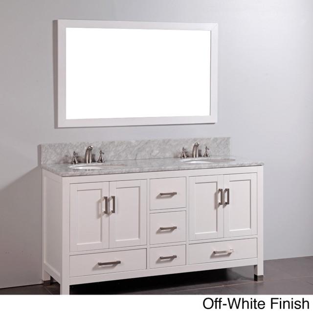 Marble top double sink bathroom vanity and mirror set for Overstock com vanities