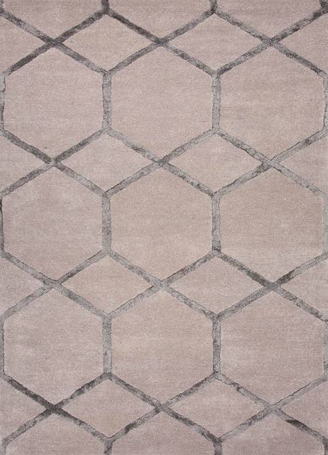Hand-Tufted Geometric Pattern Wool/ Art Silk Taupe/Gray Area Rug ( 2.6x8 ) modern-rugs