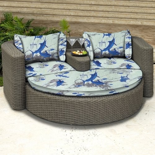 Guy Harvey All Weather Wicker Outdoor Daybed Contemporary Outdoor Chaise