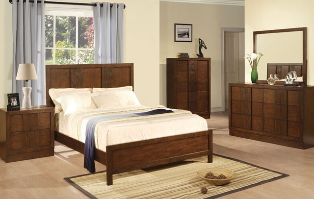 dark wood 4 pieces queen poster bedroom set contemporary bedroom