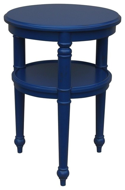 New Side Table Dark Blue Painted Hardwood Round