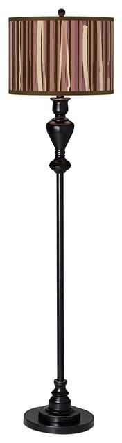 Contemporary Kalahari Lines Giclee Glow Black Bronze Floor Lamp contemporary-floor-lamps