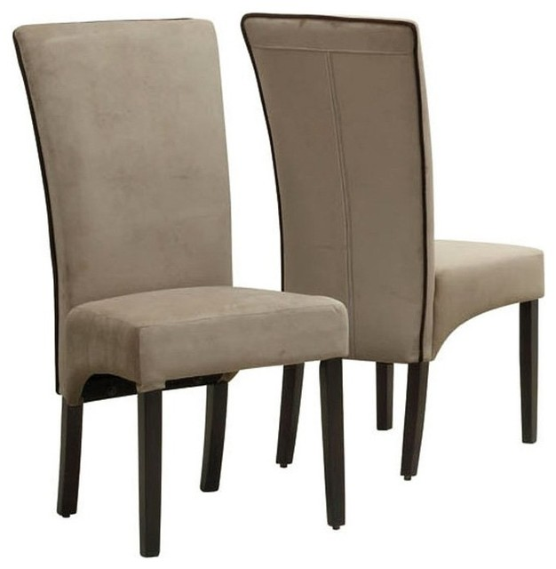 Monarch Tan Velvet Dining Chair with Brown Piping Set of