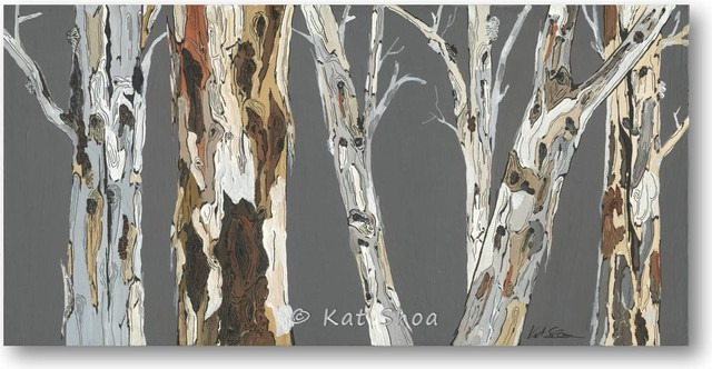 ORIGINAL 18x36 Painting Tree Art Abstract Landscape Contemporary Office Art contemporary-artwork