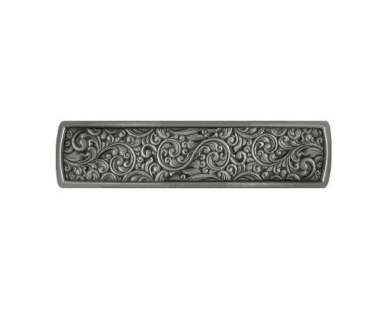 """Inviting Home - Saddleworth Pull (bright nickel) - Hand-cast Saddleworth pull in bright nickel finish; 3-7/8""""W x 7/8""""H ; Product Specification: Made in the USA. Fine-art foundry hand-pours and hand finished hardware knobs and pulls using Old World methods. Lifetime guaranteed against flaws in craftsmanship. Exceptional clarity of details and depth of relief. All knobs and pulls are hand cast from solid fine pewter or solid bronze. The term antique refers to special methods of treating metal so there is contrast between relief and recessed areas. Knobs and Pulls are lacquered to protect the finish. Detailed Description: The Saddleworth pulls and the Saddleworth bin pulls both look intricate and interesting. The pulls are rectangular shaped while the bin pulls have a bit more of a dome look to them. They both can be used with the Saddleworth knobs. You may use the knobs on the doors the pulls on the smaller drawers and the bin pulls on the larger or wider drawers. That way you will get a variety of shapes and sizes while still keeping to the same design."""