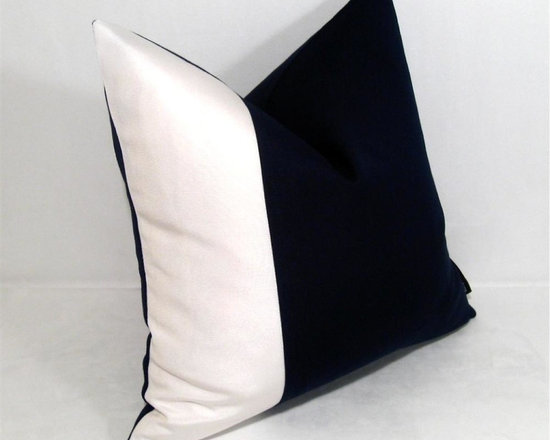 Blk Wht Color Block Outdoor Decor Cushion - Bold, minimalist pillow constructed in black and white Sunbrella outdoor canvas. Right on trend, this color block design adds depth in any indoor or outdoor living space for home and garden. Hardy, outdoor zippered closure. Washable and colorfast!